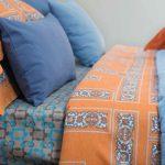 1174 Σετ Πάπλωμα 210 TC Βαμβ/τεν 225×240 3Τμχ Πορτοκαλί – Μπλε