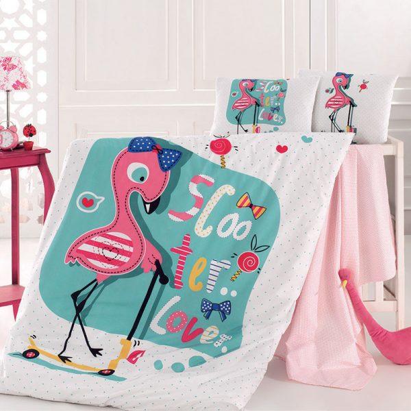 4017 Σετ Σεντόνια ΒΕΒΕ 100% CΟΤΤΟΝ 100Χ150 Flamingo