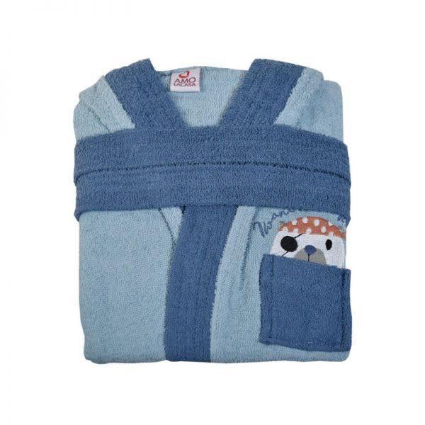 2601 Παιδικό Μπουρνούζι 100% Cotton Μπλε