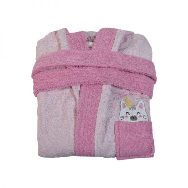 2602 Παιδικό Μπουρνούζι 100% Cotton Ροζ