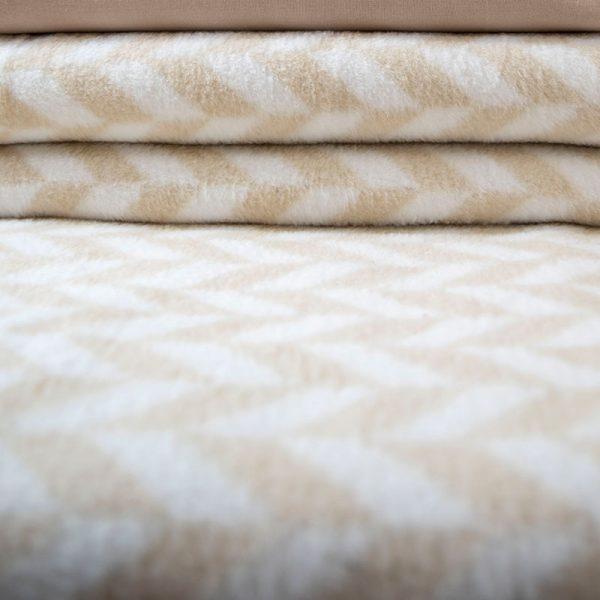 2338 Κουβέρτα Zig zag 200x230 100% Cotton Καφέ