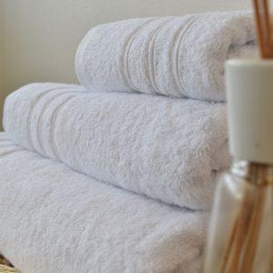 Πετσέτα λευκή 600gr Ρίγα Αιγύπτου 100% Cotton
