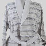 890 Μπουρνούζι Ρίγα Μπεζ- Μπλέ 100% Cotton