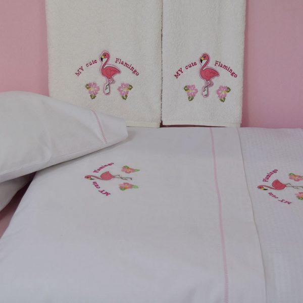 899 Σετ Σεντόνια 100% CΟΤΤΟΝ 120Χ160 3ΤΕΜ Flamingo Κέντημα