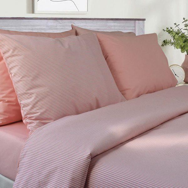 3142 Σετ Κουβερτίνα 100%CΟΤ Pink Stripe 2 διαστάσεις