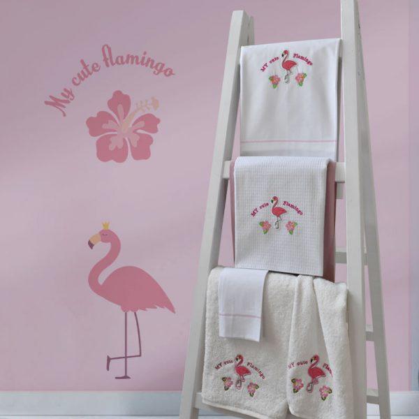 899 Σετ Πετσέτες BEBE 2ΤΕΜ Flamingo Κέντημα (40Χ70-70Χ140)