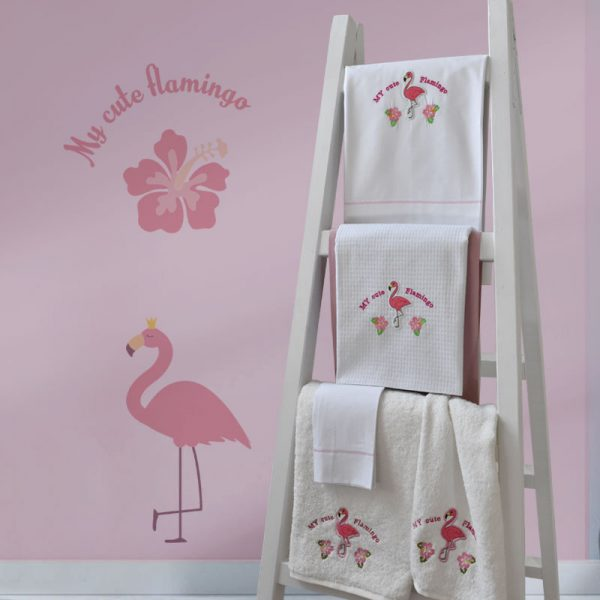899 Κουβέρτα Πικέ 100% CΟΤ 110x130 Flamingo Κέντημα