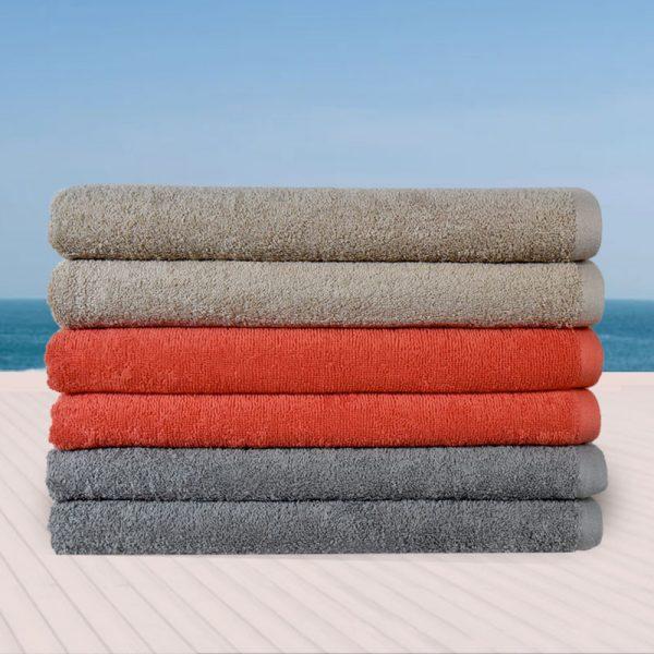 844 Πετσέτα Παραλίας 100% Cotton Reactive 450gr Beige - Coral - Light Grey