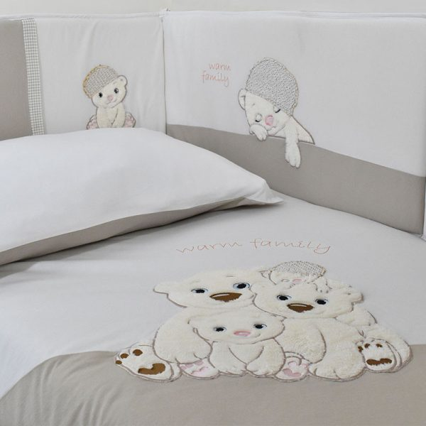 3066 WARM FAMILY SET QUILT 100%CΟΤ 100Χ135+BUMPER 36Χ210 3PCS BEIGE