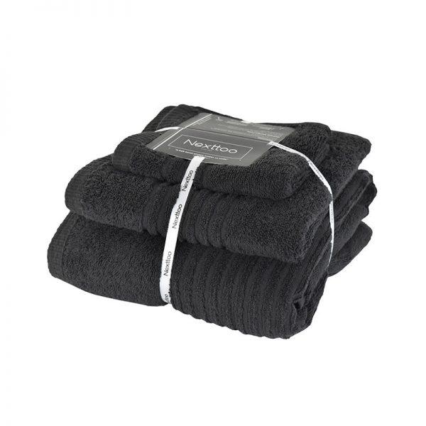 5005 Σετ Πετσέτες 100%CΟΤ 600GR 3Τεμ Black