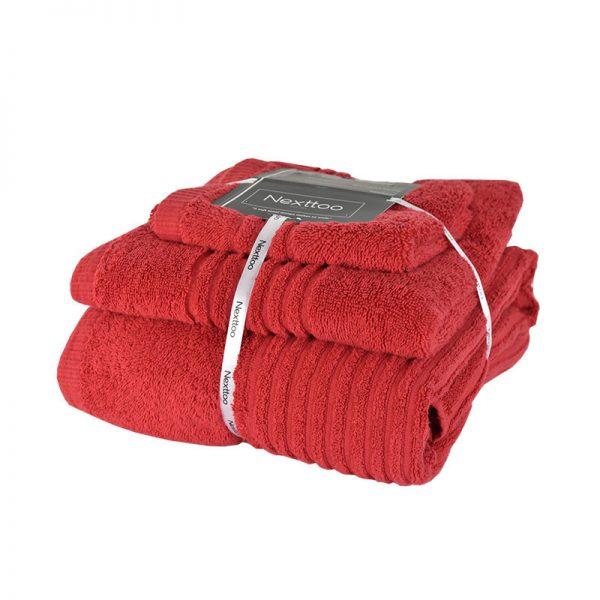 5005 Σετ Πετσέτες 100%CΟΤ 600GR 3Τεμ Red